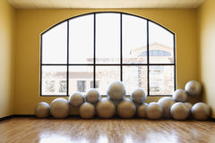 Balance Balls on Floor in Gym Stock Photos