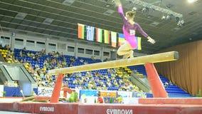 Balance beam jumping, Ukraine Nation CUP (Stella Zakharova Cup), Kiev,. KIEV - MAY 24: Ukraine Nation CUP (Stella Zakharova Cup) 2015, International sport stock video