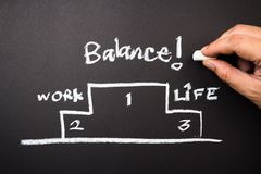 Balance is the best. Hand drawing concept of work and life balance on chalkboard Royalty Free Stock Image