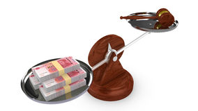 Balance with Chinese RMB on one side and a gavel on the other Stock Image