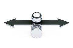 Balance, Choise and Harmony concept. Metal ball over arrow. 3d R Stock Photo
