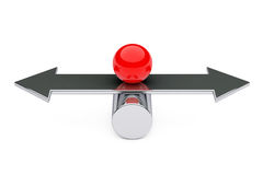 Balance, Choise and Harmony concept. Red Metal Ball over Arrow. Stock Photography