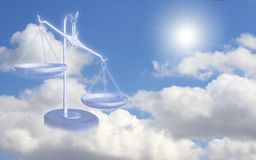 Balance on clouds. Conceptual image - balance on clouds Royalty Free Stock Image