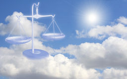 Balance on clouds. Conceptual image - balance on clouds Stock Images