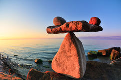 Balance on coast Stock Image