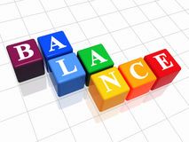 Balance in colour 2. 3d colour boxes with text - balance, word Royalty Free Stock Photography