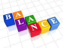 Balance in colour. 3d colour boxes with text - balance, word Royalty Free Stock Image