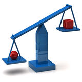 Balance concept. 3d illustration of blue scale Royalty Free Stock Photos
