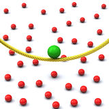 Balance concept 3d. Balance concept - green sphere on gold rope and many red spheres on ground 3d Royalty Free Stock Photo