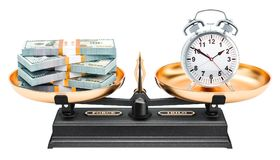 Balance concept, alarm clock and dollar packs. 3D rendering. Isolated on white background Royalty Free Stock Photos