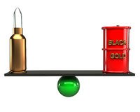 Balance concept arms and oil 3d. White background Stock Photos