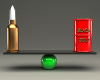Balance concept arms and oil 3d. Gray background Stock Photography