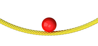 Balance concept - ball on rope 3d Stock Photography