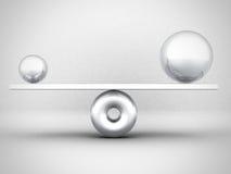 Balance Concept Big And Small Metallic Spheres Stock Images