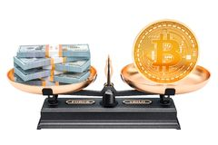 Balance concept, bitcoin and dollar. 3D rendering. Isolated on white background Stock Photography