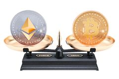 Balance concept, bitcoin or ethereum. 3D rendering. Isolated on white background Stock Photo