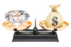 Balance concept, diamond and money. 3D rendering. Isolated on white background Stock Photos