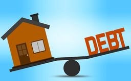 Balance concept of house and debt royalty free illustration