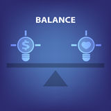 Balance concept illustration in blue background Stock Image