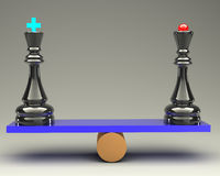 Balance concept king and queen chess 3d Stock Photography