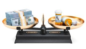 Balance concept, medications and dollar packs. 3D rendering. Isolated on white background Stock Images