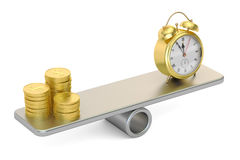 Balance concept, money and time. 3D rendering. On white background Stock Photos