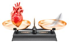 Balance concept, scales with heart and feather. 3D rendering. Isolated on white background Royalty Free Stock Photo