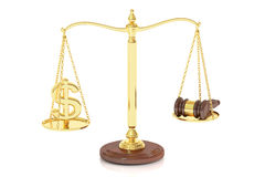Balance concept on the scales, law and money. 3D rendering. On white background Royalty Free Stock Photography
