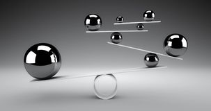 Balance concept. Silver spheres rolling back and forth slowly balancing