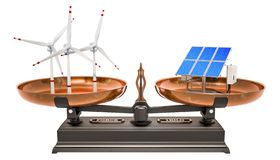 Balance concept, solar panels or wind turbines. 3D rendering vector illustration