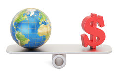 Balance concept, world and money. 3D rendering Royalty Free Stock Image