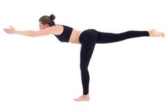 Balance concept - young woman standing in yoga pose isolated on Royalty Free Stock Photos