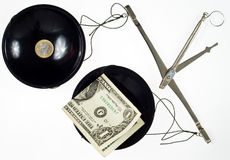 Balance currency. Balance with currency euro and dollar Royalty Free Stock Images