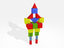 Balance. 3D balanced tower castle from toy bricks isolated on white Stock Photography