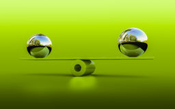 Balance. 3d rendering of two spheres in balance royalty free stock image