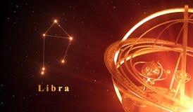 Balance de constellation de zodiaque et sphère armillaire au-dessus de fond rouge Image libre de droits
