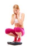 Balance de femme bouleversée Régime de la perte de poids Photo stock