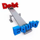 Balance de la equidad de la deuda Imagen de archivo