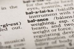 Balance in dictionary stock illustration