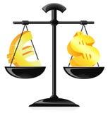 Balance del dinero en circulación Foto de archivo