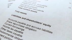 Balance del estado financiero, análisis del plan empresarial para los accionistas almacen de metraje de vídeo