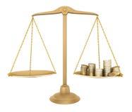 Balance del oro. Algo igual con el dinero Fotografía de archivo