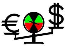 Balance des Dollars gegen den Euro Stockbilder