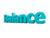 Balance des Wortes 3d Stockfoto