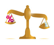 Balance discount percentage and money Stock Images