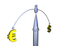 A balance between dollar and euro Stock Images