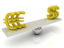 Balance Dollar and Euro Stock Photo