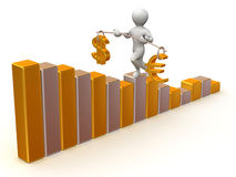 Balance of dollar and euro. Man going to step schedule. Balance of dollar and euro. 3d Stock Image