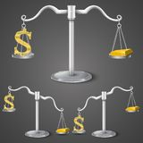 Balance between dollar and gold. Royalty Free Stock Photos