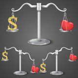 Balance between dollar and love Royalty Free Stock Photos
